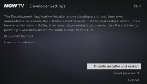 NOW TV - Developer Settings