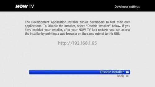 NOW TV Developer Settings