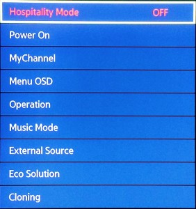 Samsung Smart TV, Service Menu, Hospitality Mode