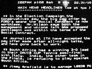 Ceefax News Headlines 1974