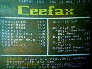 Ceefax index 1975