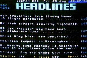 Ceefax News Headlines