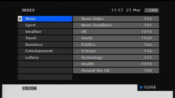 BBC Red Button Index